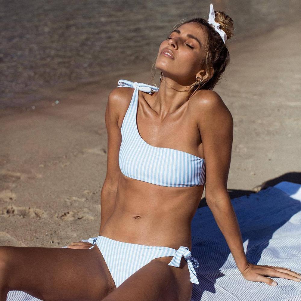 Cute and sweet two piece swimsuit bikini striped one shoulder with push up - Fresh Fashion Library