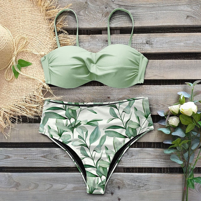 Sexy leaf print bikini two piece swimsuit high waist push up - Fresh Fashion Library