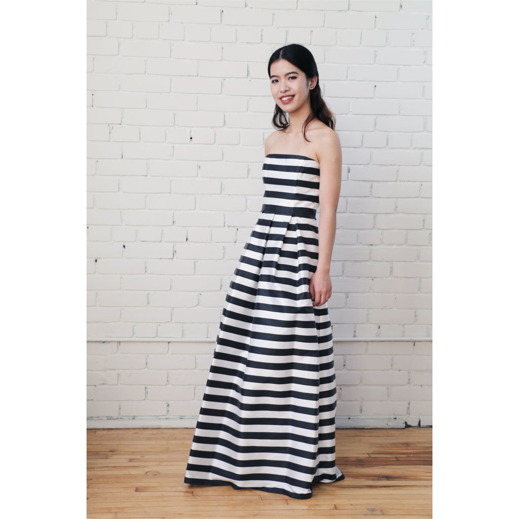 ABS | Strapless Striped Gown
