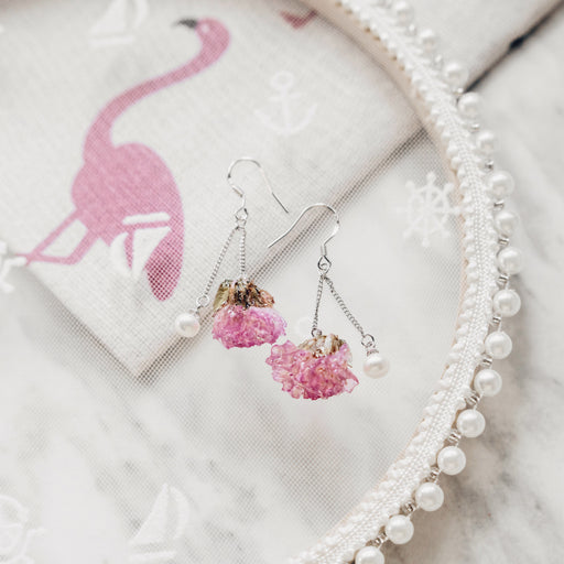 Real Pink Forget Me Not Flower Earrings, Real Flower Jewelry, Forget Me Not Jewelry, 925 Sterling Silver, Natural Freshwater Pearl Earrings, Floral Neverland, Floralfy 01
