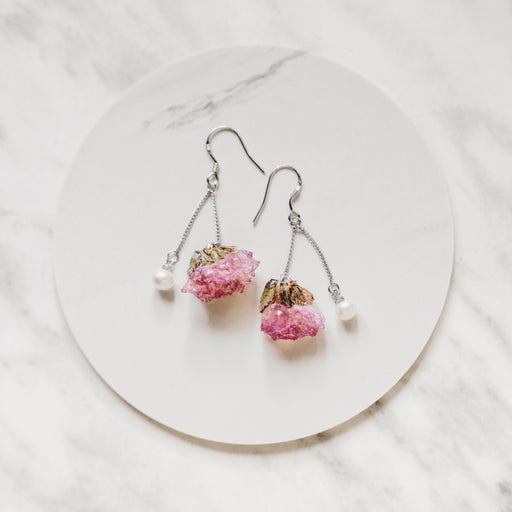 Real Pink Forget Me Not Flower Earrings, Real Flower Jewelry, Forget Me Not Jewelry, 925 Sterling Silver, Natural Freshwater Pearl Earrings, Floral Neverland, Floralfy 02