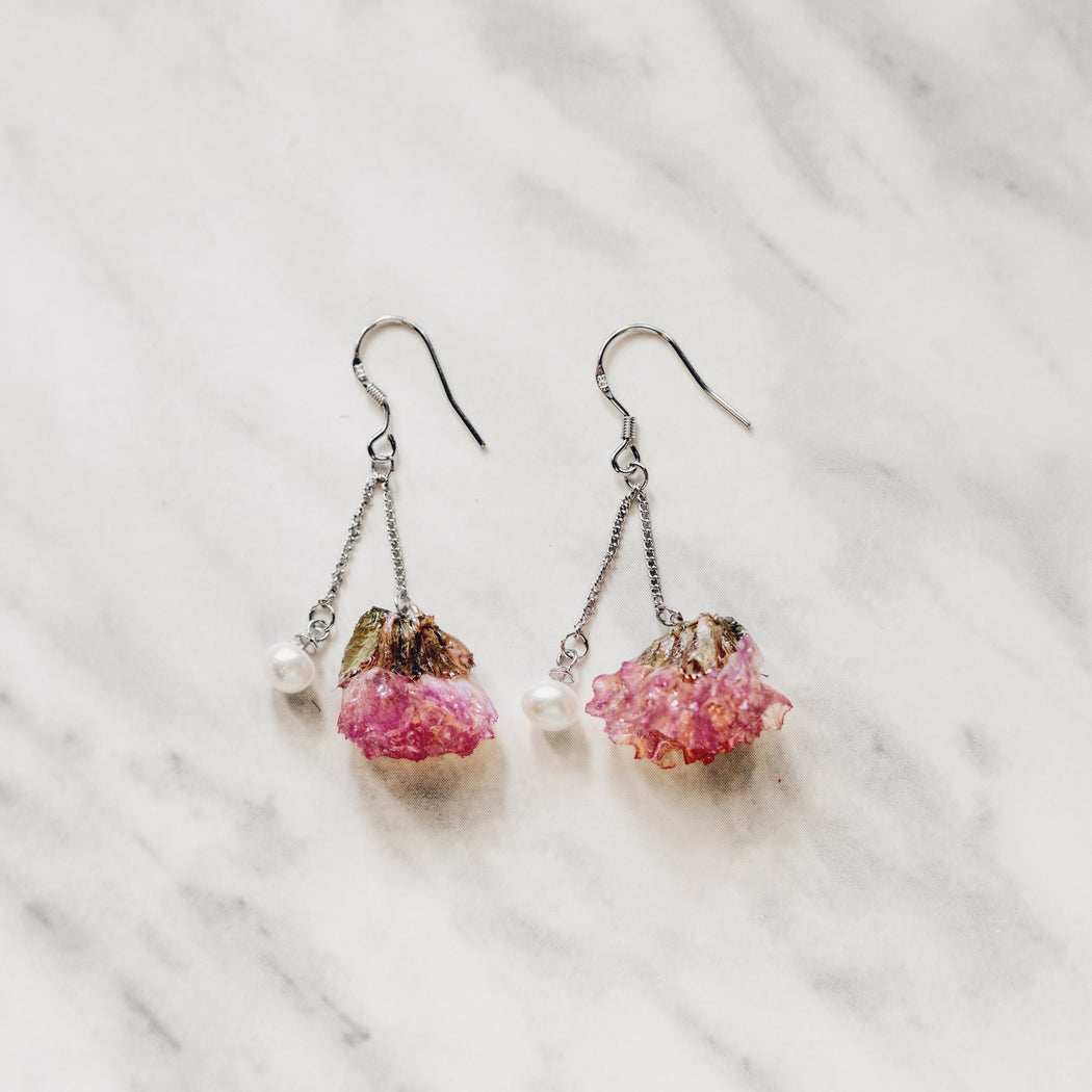 Real Pink Forget Me Not Flower Earrings, Real Flower Jewelry, Forget Me Not Jewelry, 925 Sterling Silver, Natural Freshwater Pearl Earrings, Floral Neverland, Floralfy 06