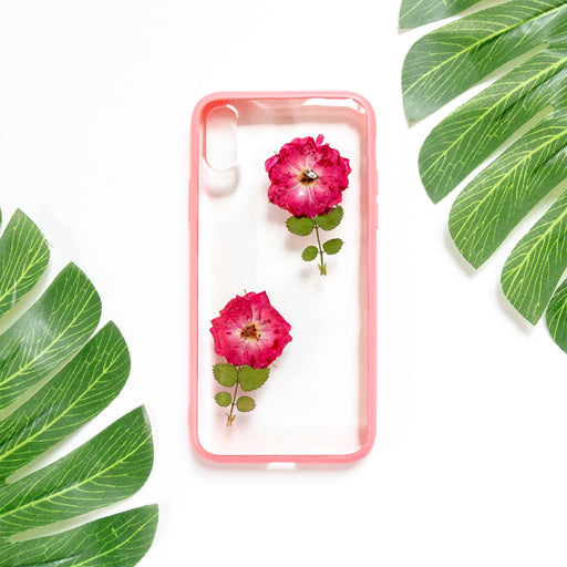 Floral Neverland Floralfy She Blooms Real Pressed Red Roses Flower Floral Foliage Botanical iPhone X Bumper Case 01