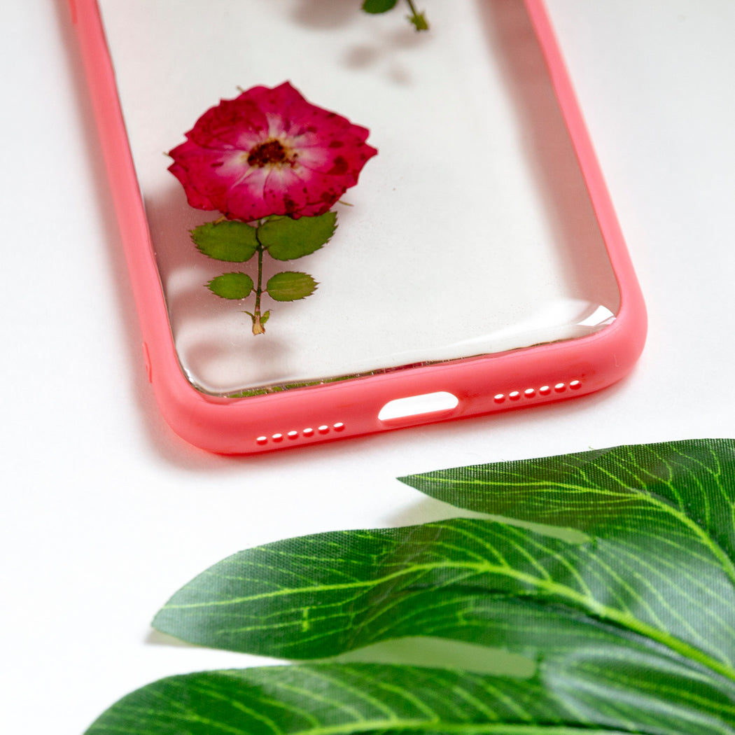 Floral Neverland Floralfy She Blooms Real Pressed Red Roses Flower Floral Foliage Botanical iPhone X Bumper Case 05