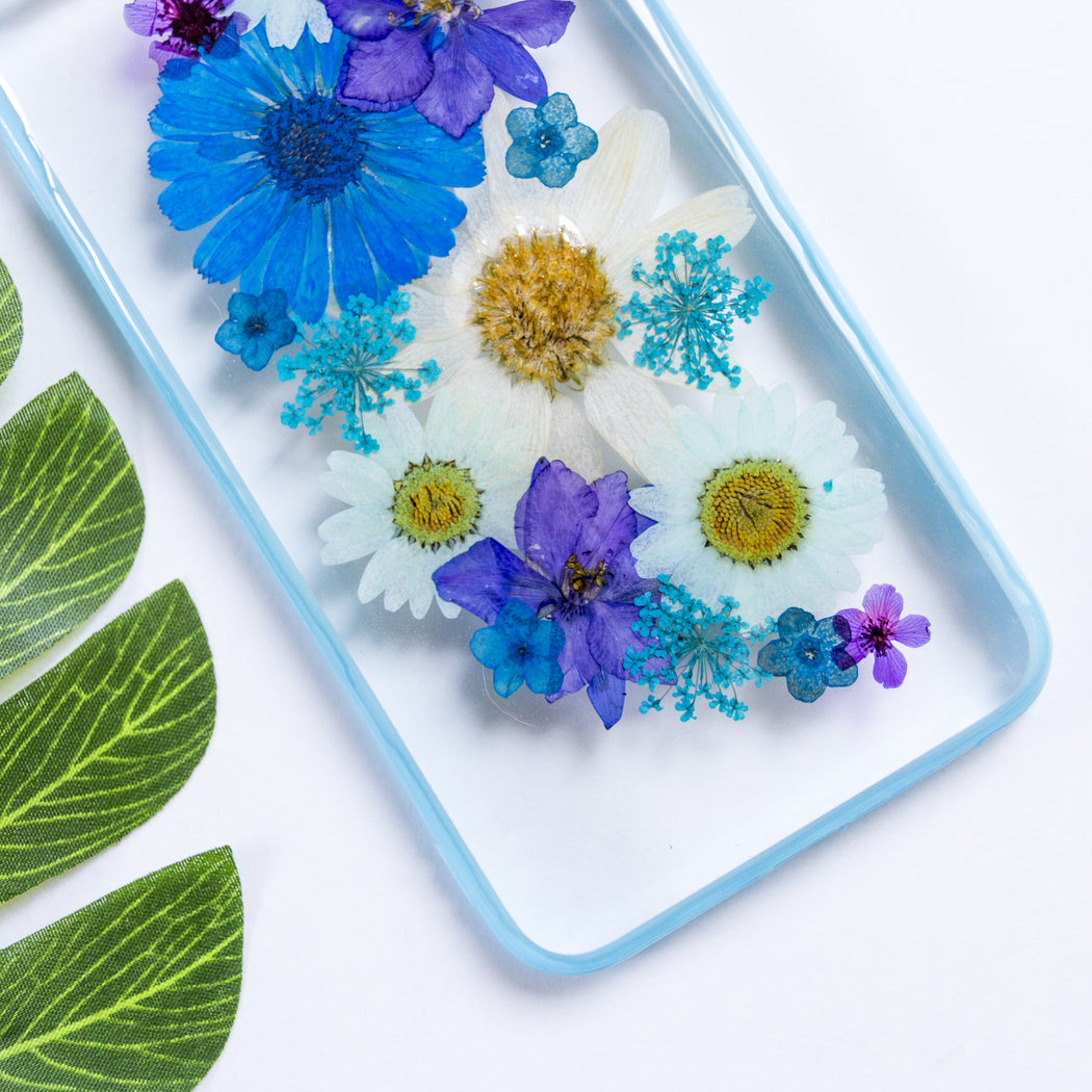 pressed blue flower cute protective floral iphone 6 6s plus bumper case floral neverland floralfy