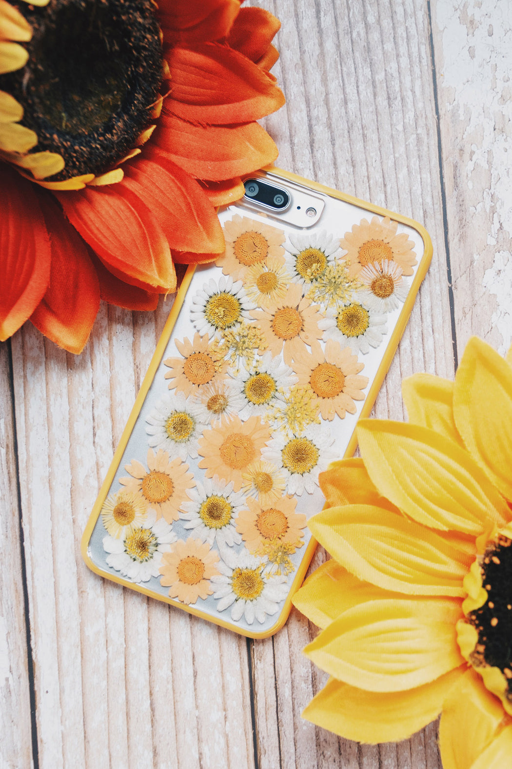 Clementine Floral Neverland Floralfy Real Pressed Yellow and Orange Daisy Flower Floral Protective Anti Drop iPhone 7 Plus 8 Plus Bumper Case