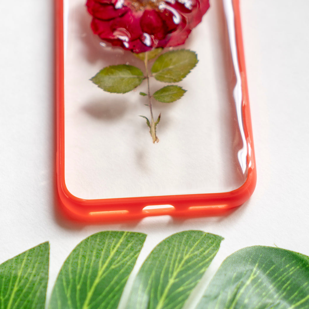 Single Bloom | Pressed Flower iPhone Bumper Case | Real Red Rose Cute Protective iPhone Case