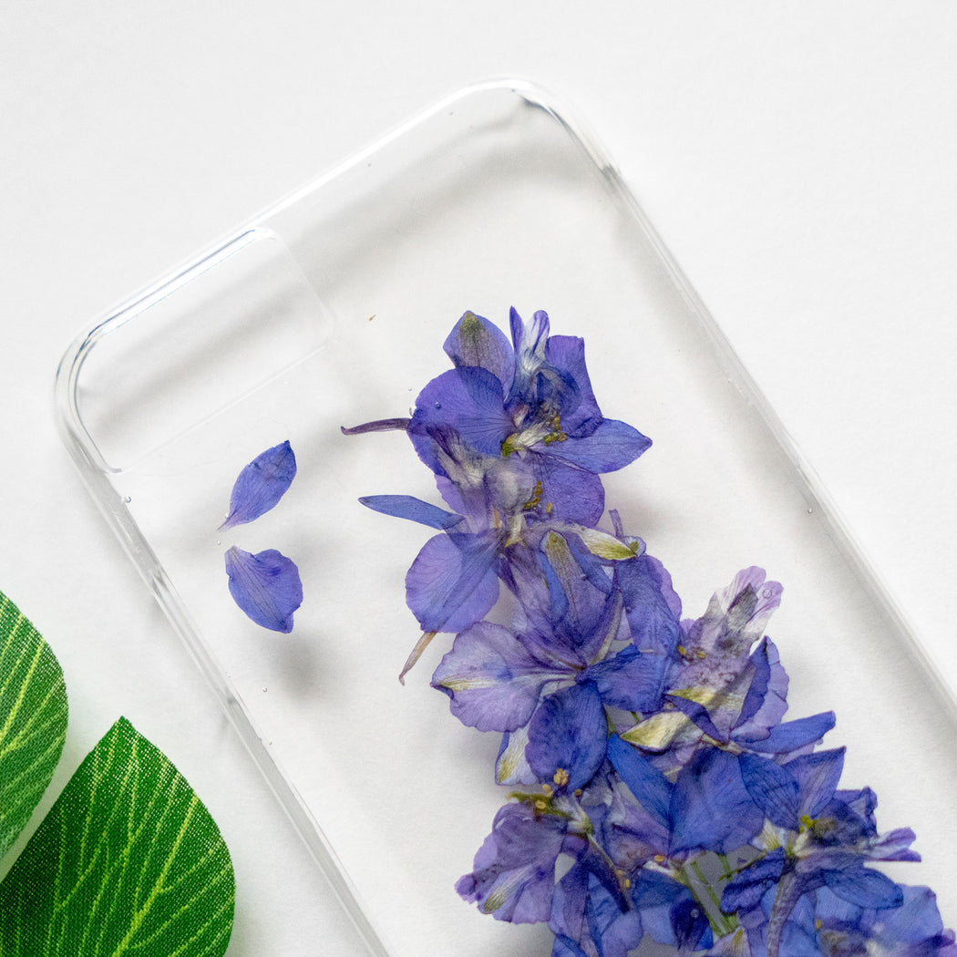 Real Pressed Purple Flower Clear iPhone 7 8 Case Floral Neverland Floralfy 02