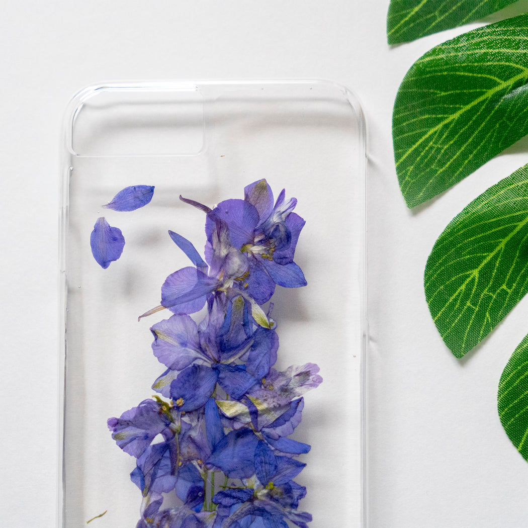 Real Pressed Purple Flower Clear iPhone 7 8 Case Floral Neverland Floralfy 06