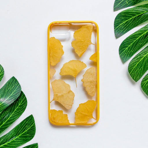 Real_Pressed_Yellow_ginkgo_leaf_Flower_Floral_Cute_Protective_Anti_Drop_iPhone_7_8_Bumper_Case_Everlasting_Floral_Neverland_Floralfy