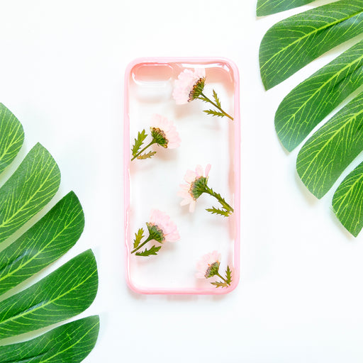 Floral Neverland Floralfy Pink Punch Real Pressed Pink Daisy Flower Floral Foliage Botanical iPhone 5 5S SE Bumper Case 01