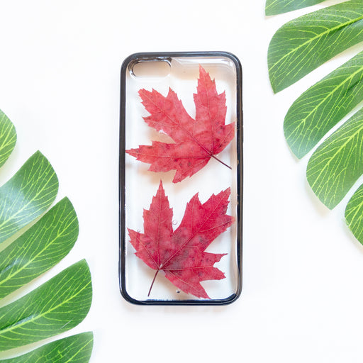 Floral Neverland Floralfy Fall Leaves Real Pressed Red Canadian Maple Leaf Flower Floral Foliage Botanical iPhone 5 5S SE Bumper Case 01