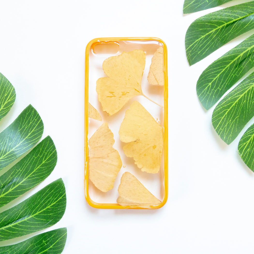 Floral Neverland Floralfy Golden Time Real Pressed Yellow Ginkgo Leaf Flower Floral Foliage Botanical iPhone 5 5S SE Bumper Case 01