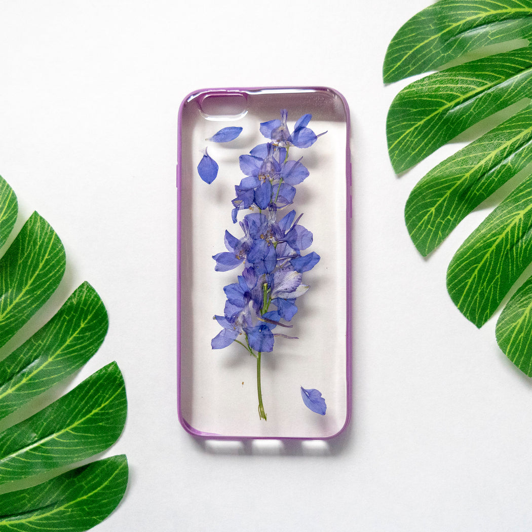 Real Pressed Purple Flower Floral iPhone 6 6s Protective Bumper Case Floral Neverland Floralfy 01