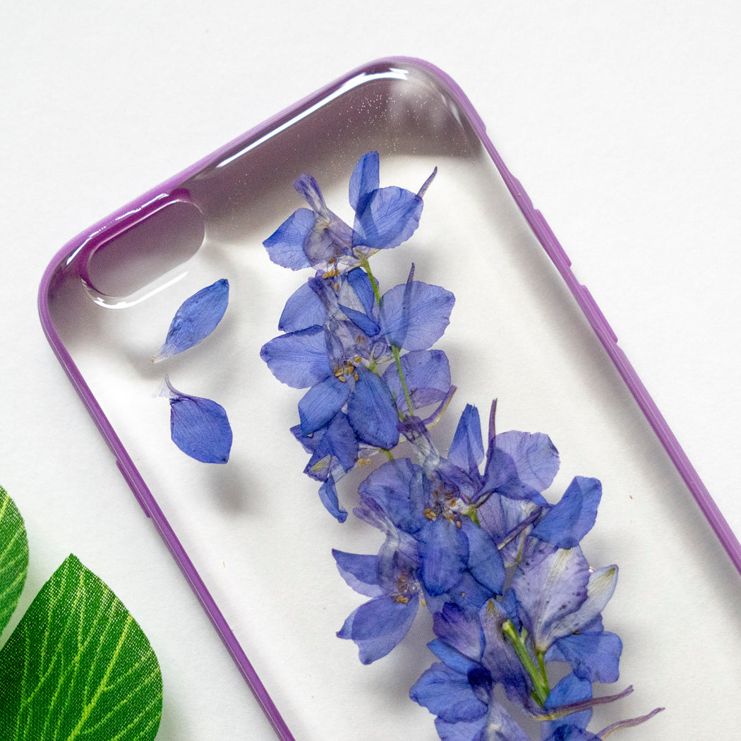 Real Pressed Purple Flower Floral iPhone 6 6s Protective Bumper Case Floral Neverland Floralfy 02