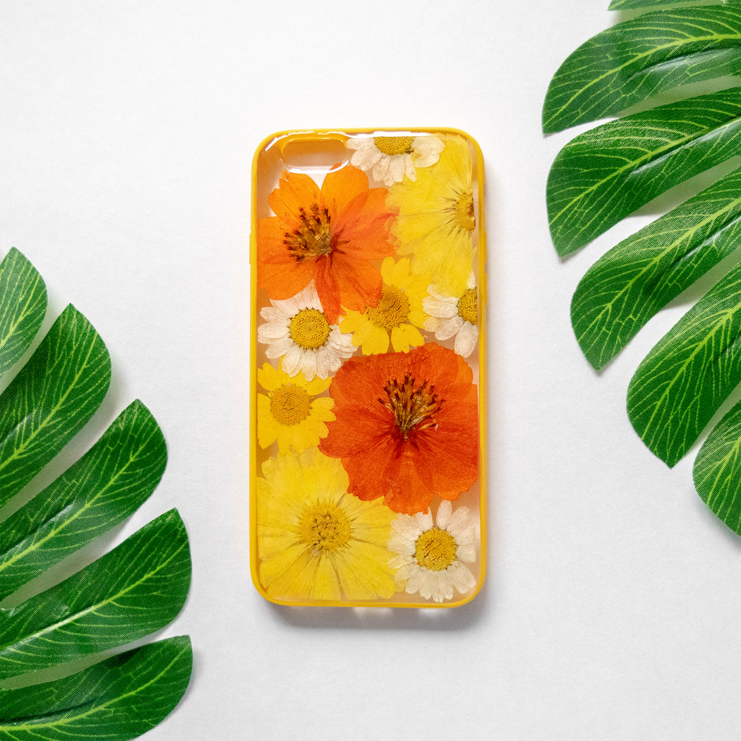 Pressed Orange Yellow Daisy Sunflower Flower Floral iPhone 6 6S Protective Bumper Case Floral Neverland Floralfy 01