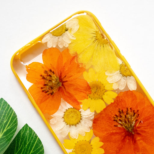 Pressed Orange Yellow Daisy Sunflower Flower Floral iPhone 6 6S Protective Bumper Case Floral Neverland Floralfy 02