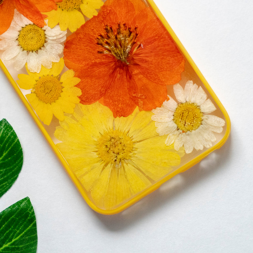 Pressed Orange Yellow Daisy Sunflower Flower Floral iPhone 6 6S Protective Bumper Case Floral Neverland Floralfy 03