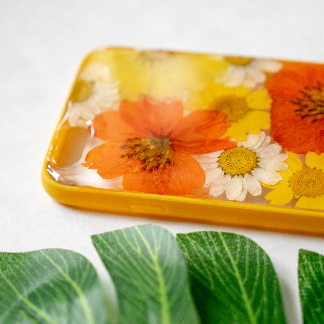 Pressed Orange Yellow Daisy Sunflower Flower Floral iPhone 6 6S Protective Bumper Case Floral Neverland Floralfy 04