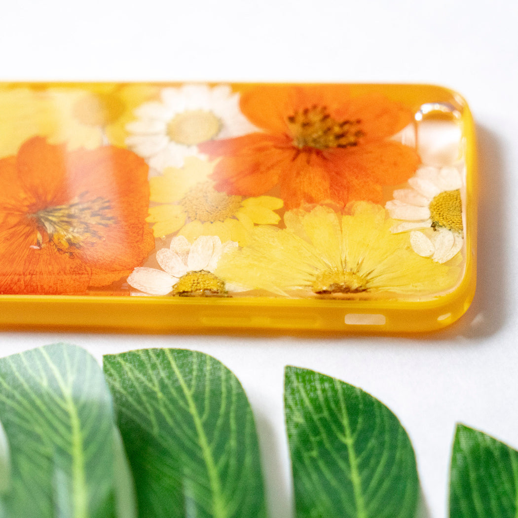 Pressed Orange Yellow Daisy Sunflower Flower Floral iPhone 6 6S Protective Bumper Case Floral Neverland Floralfy 05