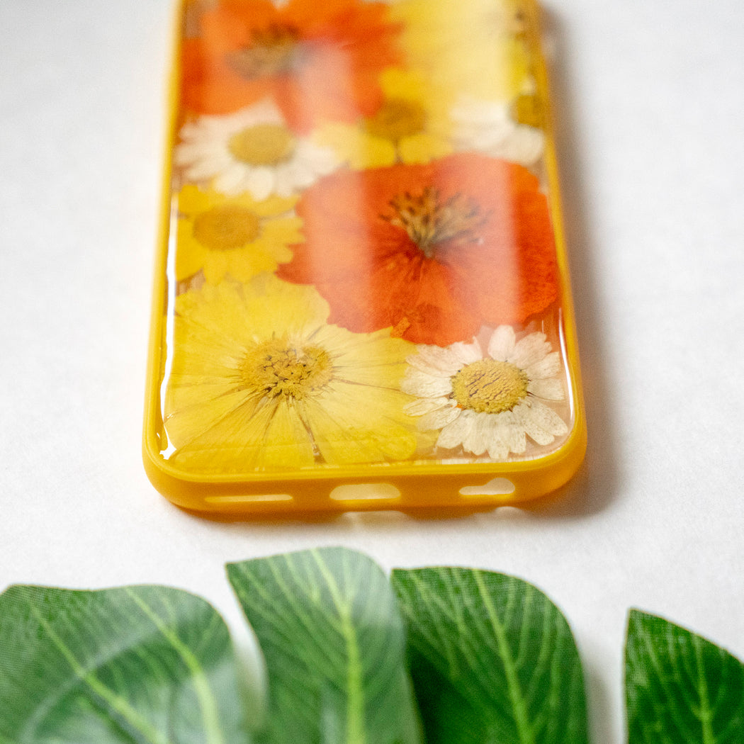 Pressed Orange Yellow Daisy Sunflower Flower Floral iPhone 6 6S Protective Bumper Case Floral Neverland Floralfy 06