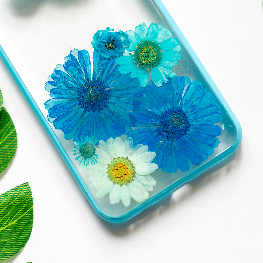 Turquoise | Pressed Flower iPhone Bumper Case | Blue Daisy Flower iPhone Case