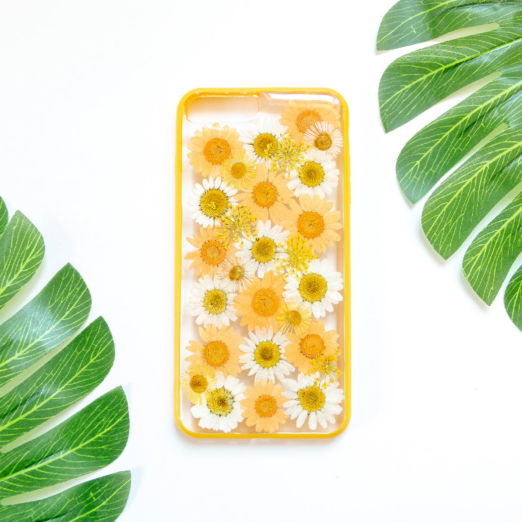 Clementine Floral Neverland Floralfy Real Pressed Yellow and Orange Daisy Flower Floral Foliage Botanical Anti Drop iPhone 7 Plus 8 Plus Bumper Case 01