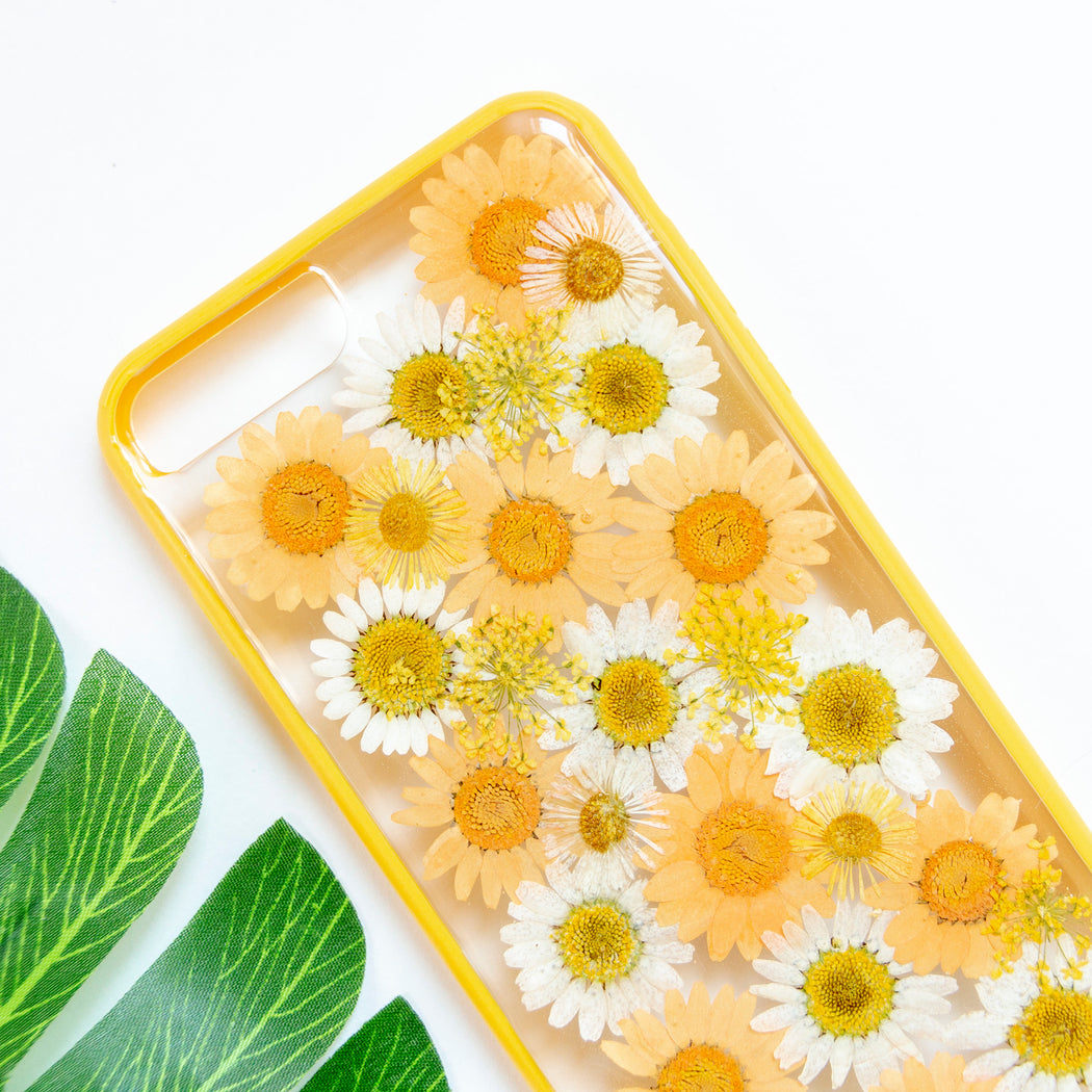 Clementine Floral Neverland Floralfy Real Pressed Yellow and Orange Daisy Flower Floral Foliage Botanical Anti Drop iPhone 7 Plus 8 Plus Bumper Case 02