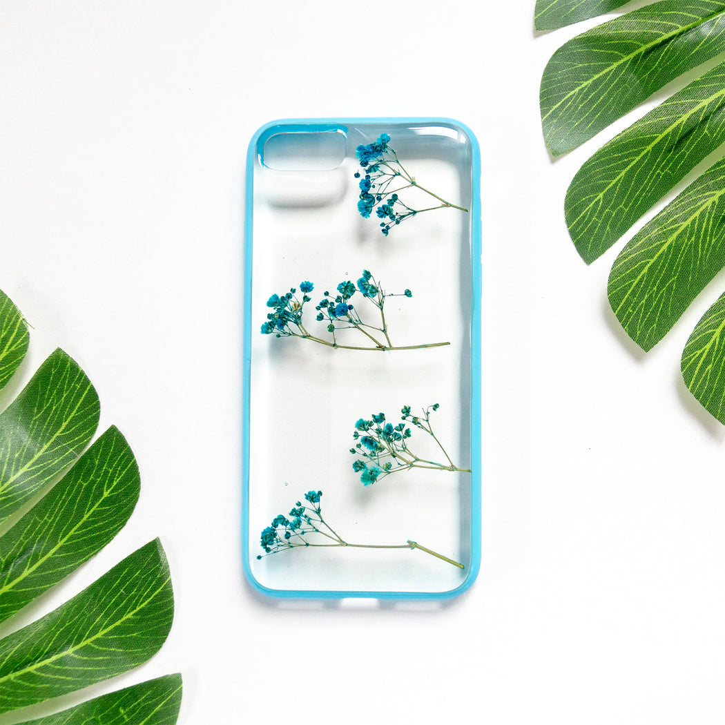 Sky Delight Floral Neverland Floralfy Real Pressed Blue Babys Breath Flower Floral Foliage Botanical Anti Drop iPhone 7 8 Bumper Case 01