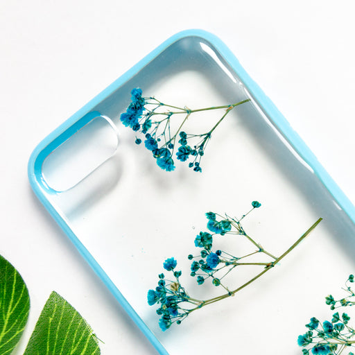 Sky Delight Floral Neverland Floralfy Real Pressed Blue Babys Breath Flower Floral Foliage Botanical Anti Drop iPhone 7 8 Bumper Case 02