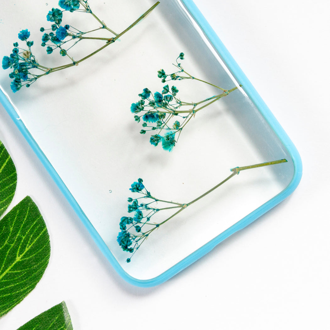 Sky Delight Floral Neverland Floralfy Real Pressed Blue Babys Breath Flower Floral Foliage Botanical Anti Drop iPhone 7 8 Bumper Case 03