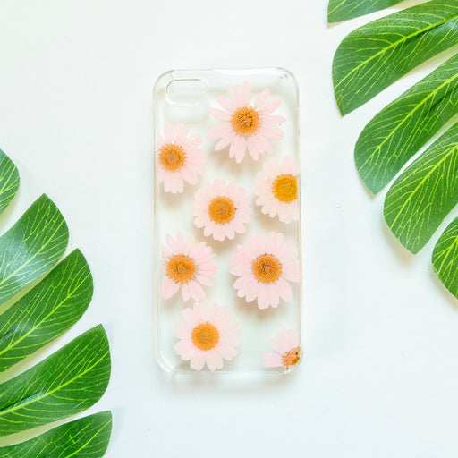 Floral Neverland Floralfy Pink Pearls Real Pressed Pink Daisy Flower Floral Foliage Botanical iPhone 5 5S SE Case 01
