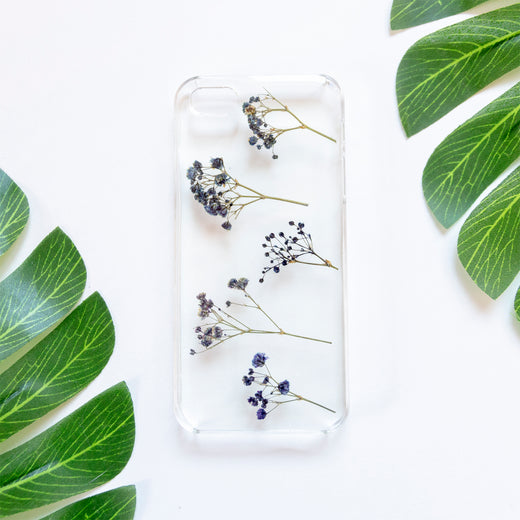 Floral Neverland Floralfy Electric Real Pressed Blue Babys Breath Flower Floral Foliage Botanical iPhone 5 5S SE Case 01
