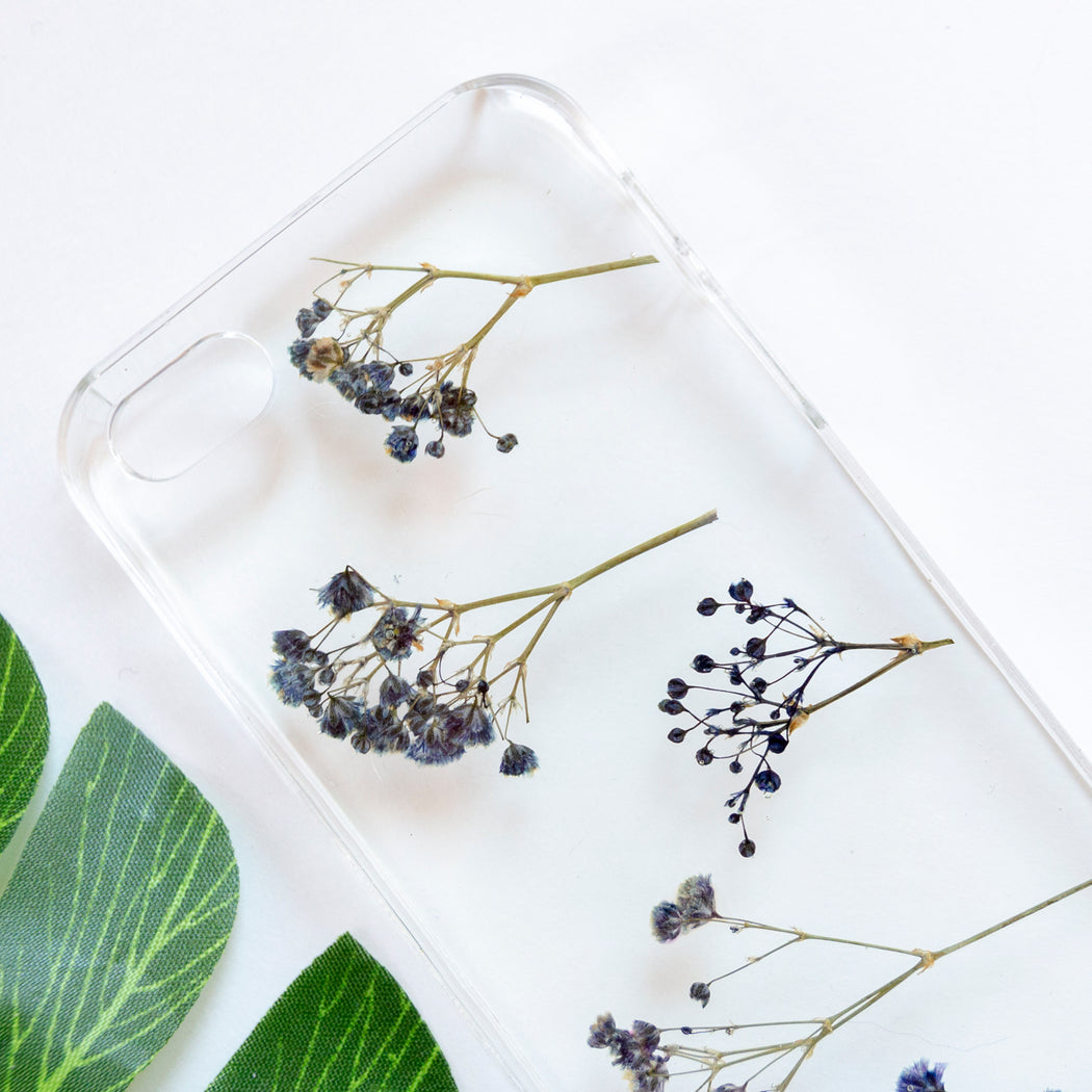 Floral Neverland Floralfy Electric Real Pressed Blue Babys Breath Flower Floral Foliage Botanical iPhone 5 5S SE Case 02
