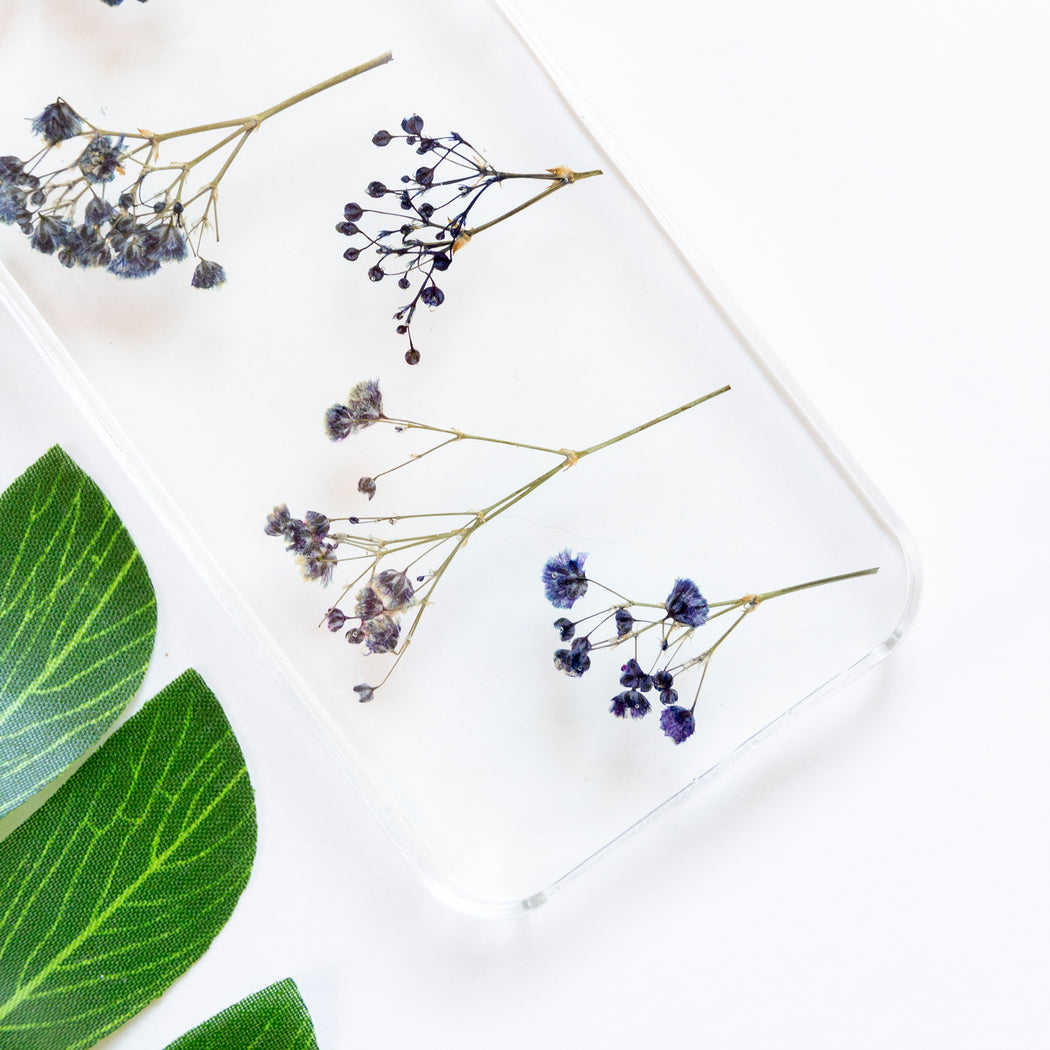 Floral Neverland Floralfy Electric Real Pressed Blue Babys Breath Flower Floral Foliage Botanical iPhone 5 5S SE Case 03