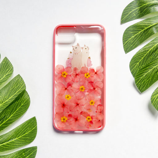 Pressed_Flower_Floral_Cute_Cat_Protective_Anti_Drop_iPhone_7_8_Bumper_Case_Happy_Kitties_Floral_Neverland_Floralfy