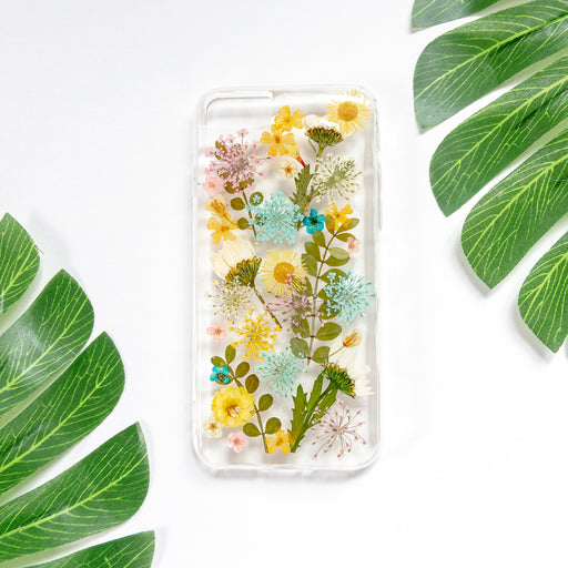 Rainbow Real Pressed Flower Floral Foliage Botanical Anti Drop iPhone 7 8 Bumper Case 01