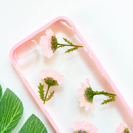 Floral Neverland Floralfy Pink Punch Real Pressed Pink Daisy Flower Floral Foliage Botanical iPhone 5 5S SE Bumper Case 02
