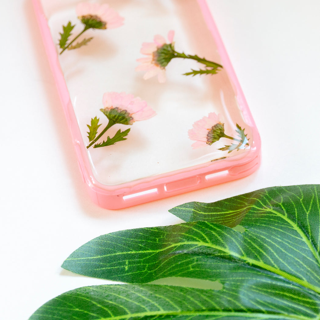 Floral Neverland Floralfy Pink Punch Real Pressed Pink Daisy Flower Floral Foliage Botanical iPhone 5 5S SE Bumper Case 05