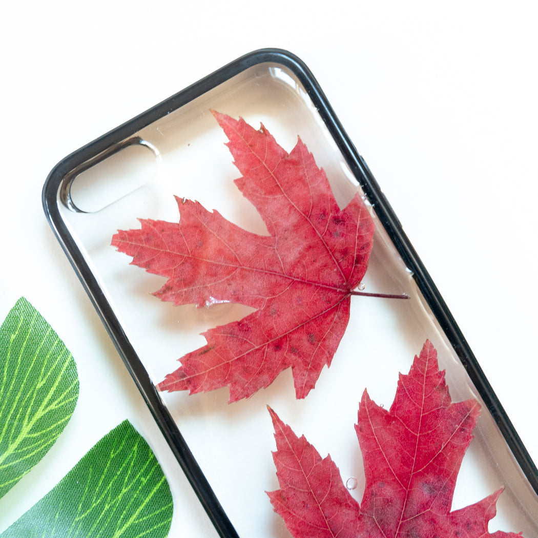 Floral Neverland Floralfy Fall Leaves Real Pressed Red Canadian Maple Leaf Flower Floral Foliage Botanical iPhone 5 5S SE Bumper Case 02