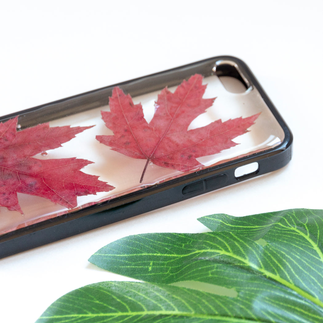 Floral Neverland Floralfy Fall Leaves Real Pressed Red Canadian Maple Leaf Flower Floral Foliage Botanical iPhone 5 5S SE Bumper Case 04