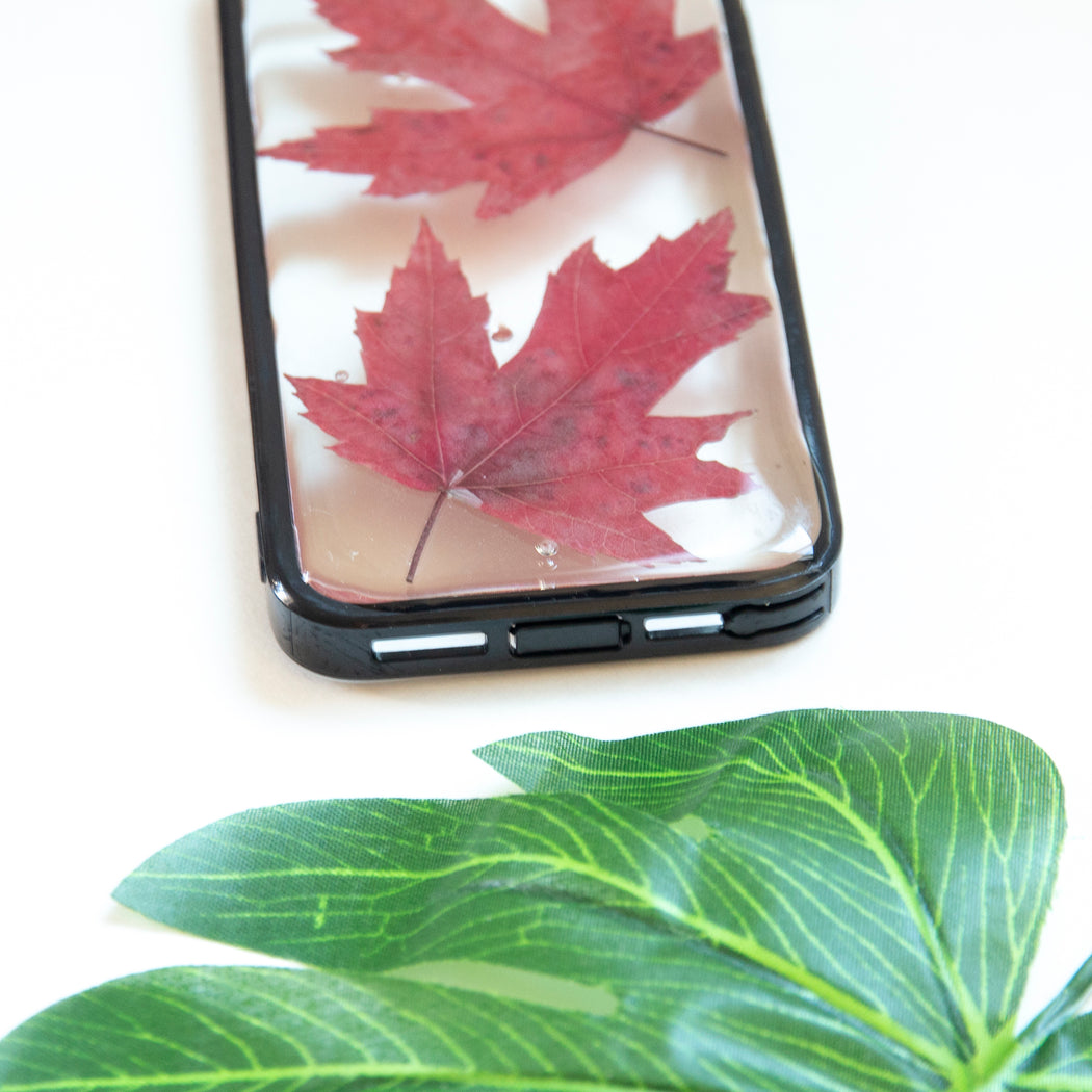 Floral Neverland Floralfy Fall Leaves Real Pressed Red Canadian Maple Leaf Flower Floral Foliage Botanical iPhone 5 5S SE Bumper Case 05