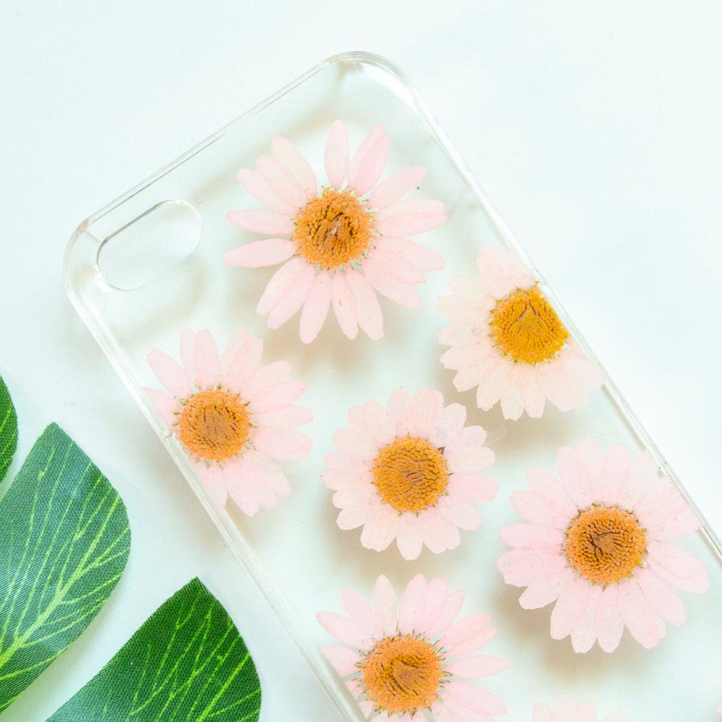 Floral Neverland Floralfy Pink Pearls Real Pressed Pink Daisy Flower Floral Foliage Botanical iPhone 5 5S SE Case 02