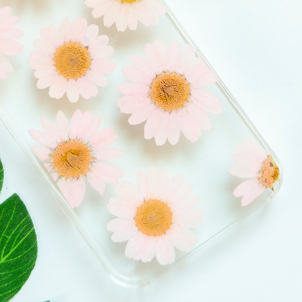 Floral Neverland Floralfy Pink Pearls Real Pressed Pink Daisy Flower Floral Foliage Botanical iPhone 5 5S SE Case 03