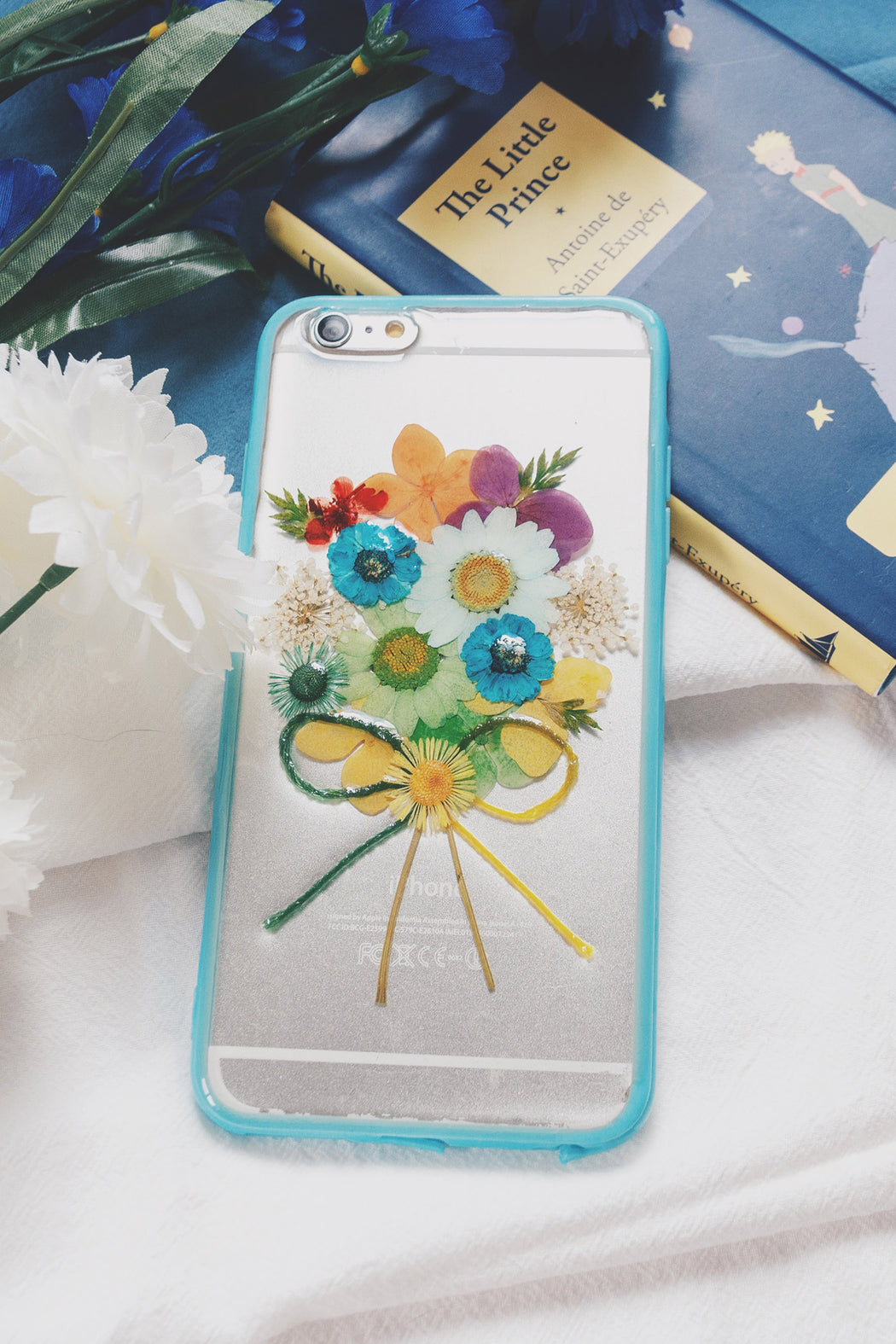 Pressed_Flower_Cute_Protective_iPhone_6Plus_6s_plus_Floral_Bumper_Case_Blue_Bouquet_Floral_Neverland_Floralfy