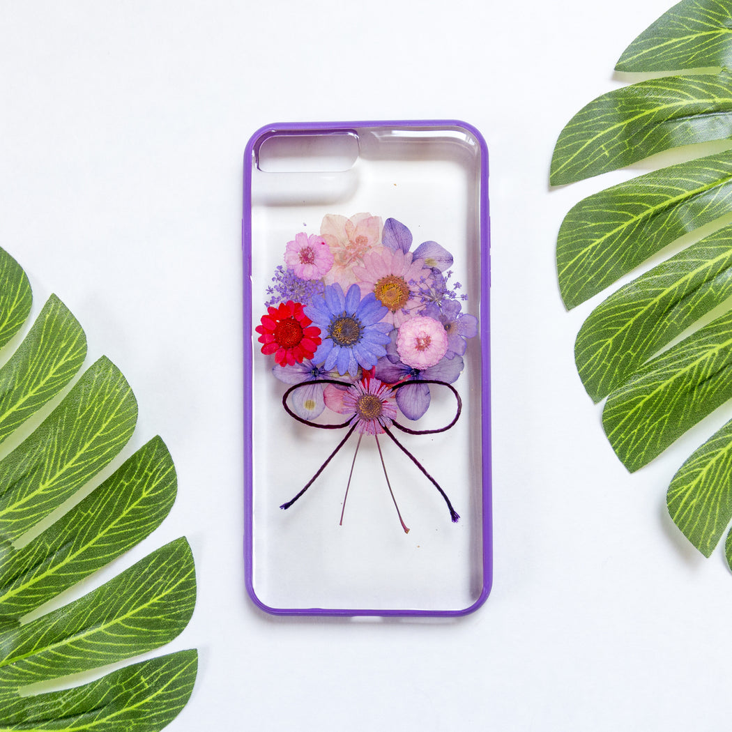 Purple Bouquet | Pressed Flower iPhone Bumper Case | iPhone 7/8 Plus
