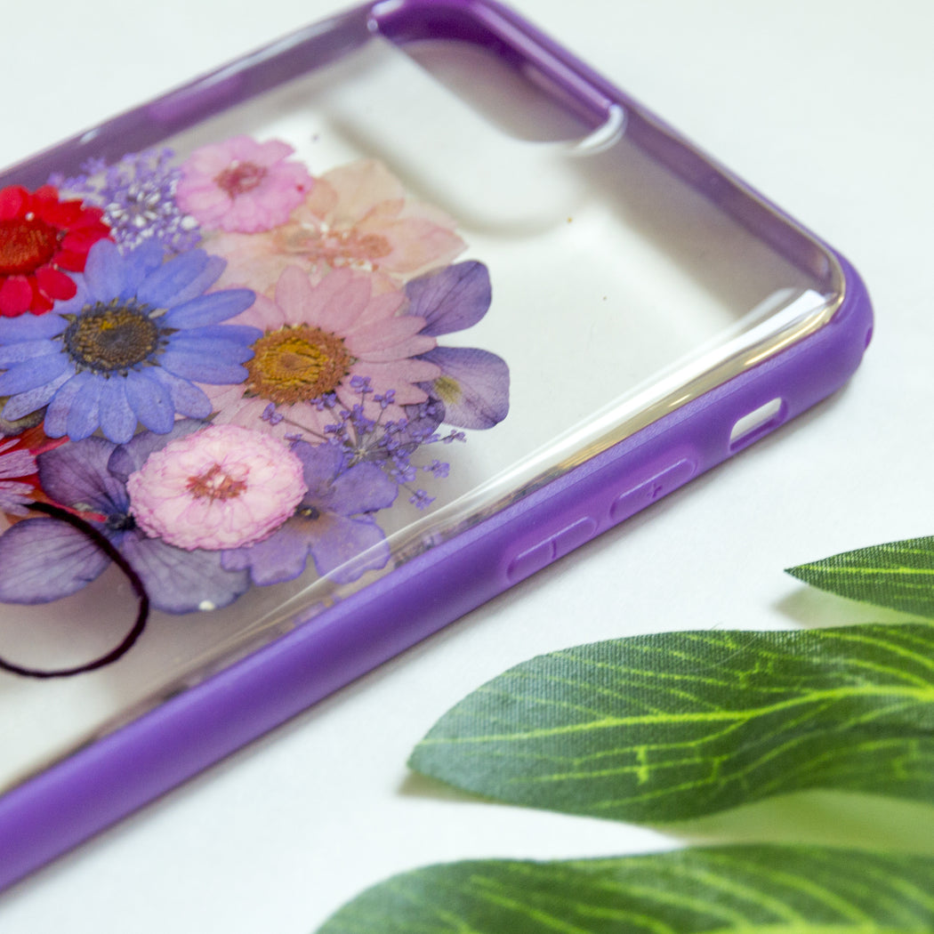 pressed purple bouquet flower cute protective floral iphone 7 8 plus case floral neverland floralfy