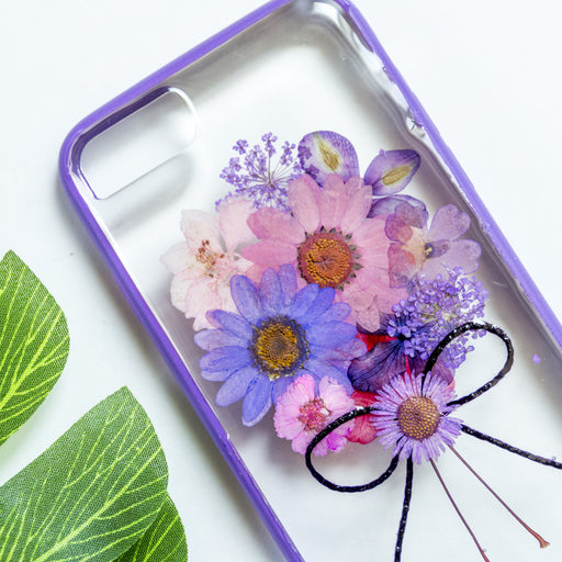 pressed purple bouquet flower cute protective floral iphone 7 8 bumper case floral neverland floralfy