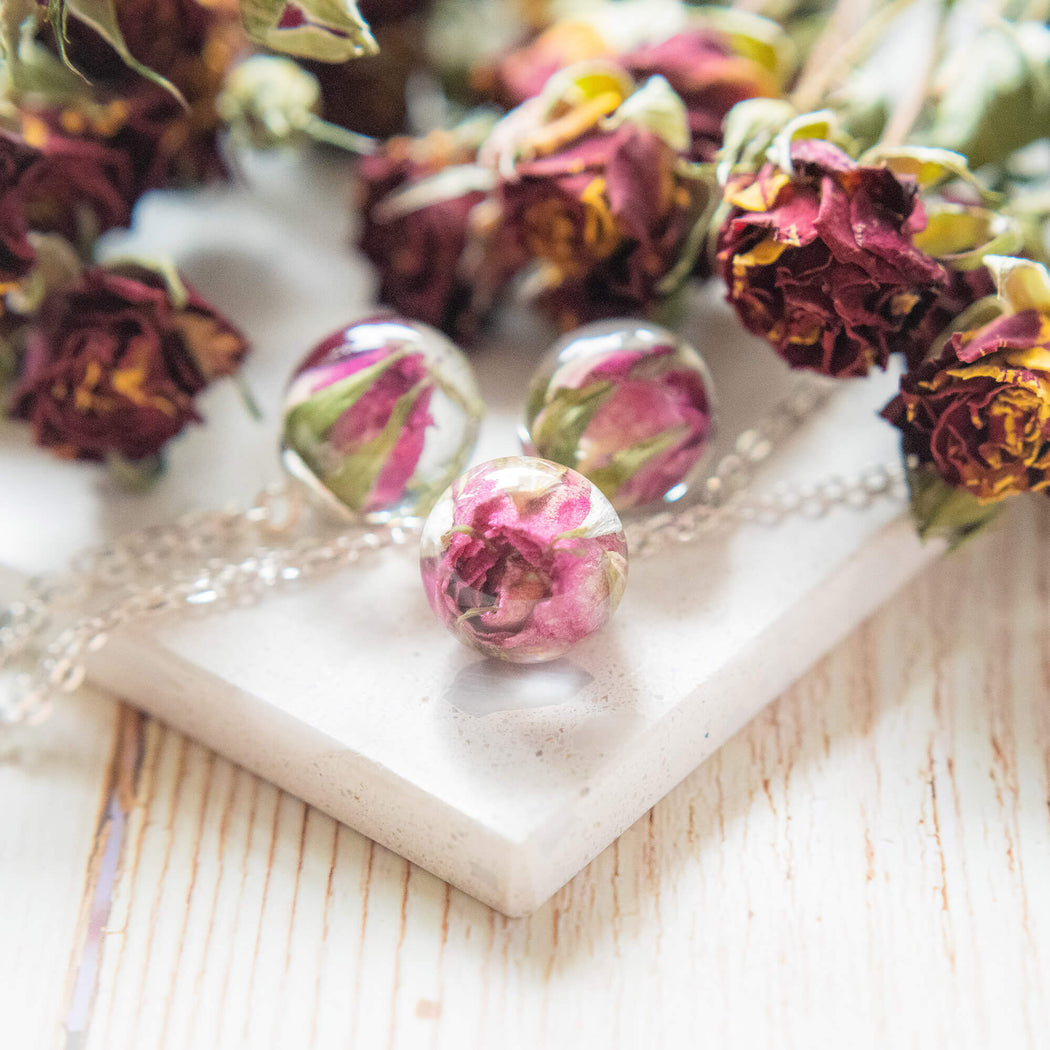 Real Dried Purple Rose Flower Resin Pendant Necklace