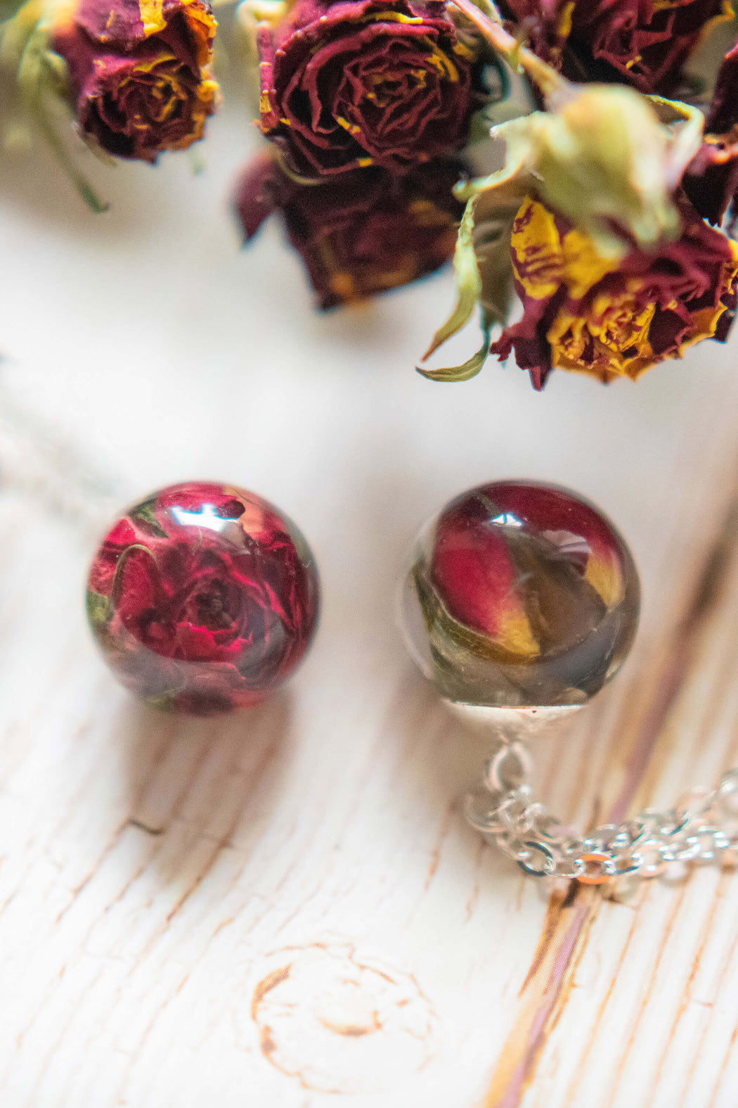 Real Dried Red Rose Flower Resin Pendant Necklace Sterling Silver Floral Charm Boho Necklace Jewelry Floral Neverland Floralfy